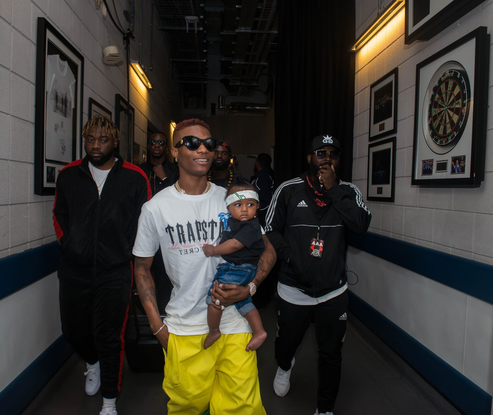 o2 Arena, London, United Kingdom. 26th May 2018. Wizkid arrives with his son ZION before his performs on stage during AFROREPUBLIK festival at The O2 Arena.