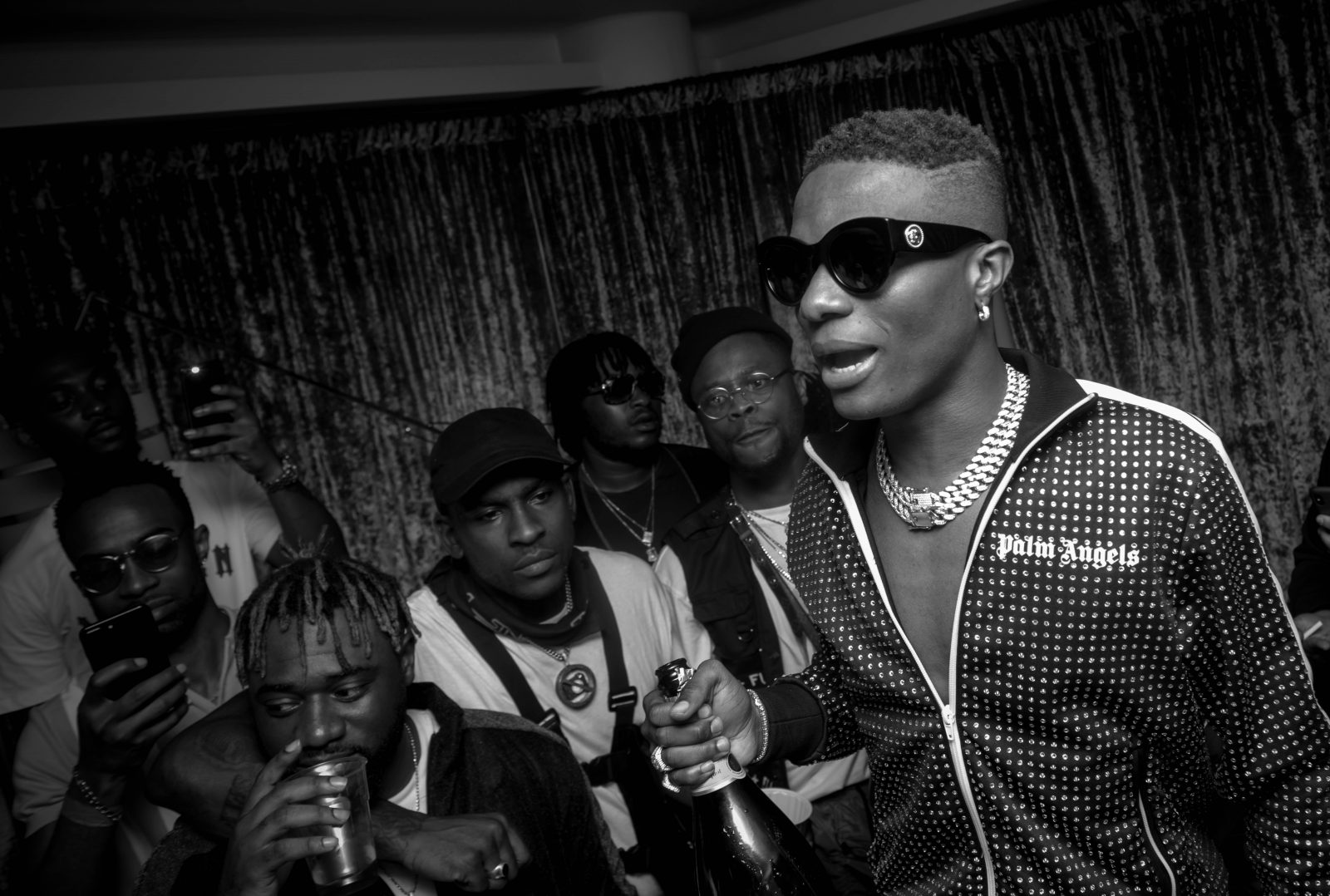 o2 Arena, London, United Kingdom. 26th May 2018. Wizkid in his dressing with Skepta and others after his performances on stage during AFROREPUBLIK festival at The O2 Arena. Michael Tubi / Alamy Live News