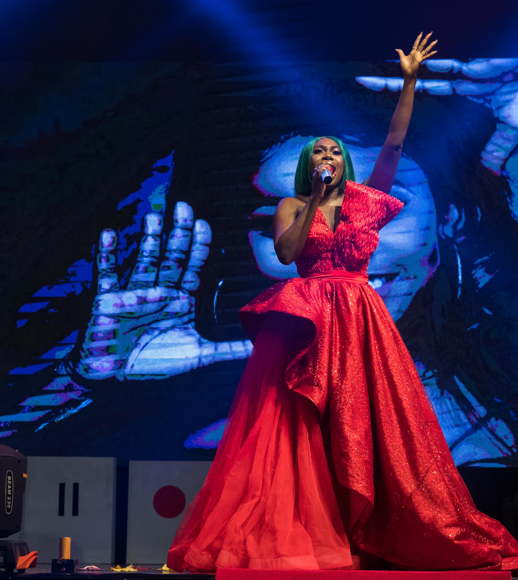 Lagos, Nigeria. 9th November 2018.  Niniola performs at her Human Radio Concert. Photographed by Michael Tubes