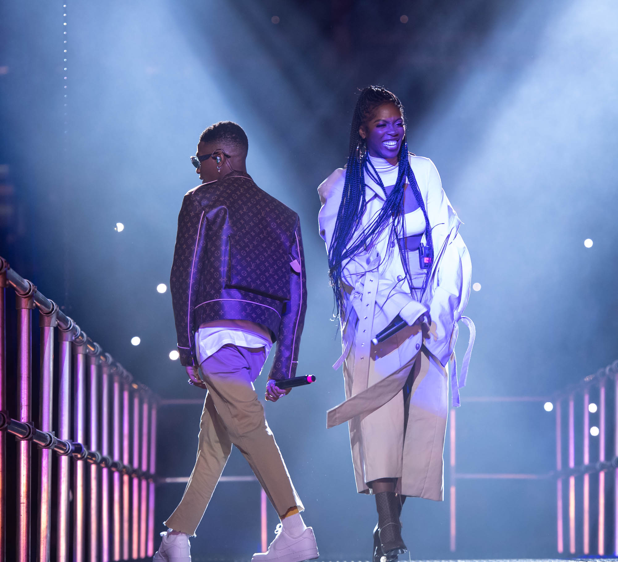 London, United Kingdom. 19th October 2019.  Wizkid & Tiwa performing live at starboy fest at The 02 Arena. Photographed by Michael Tubes