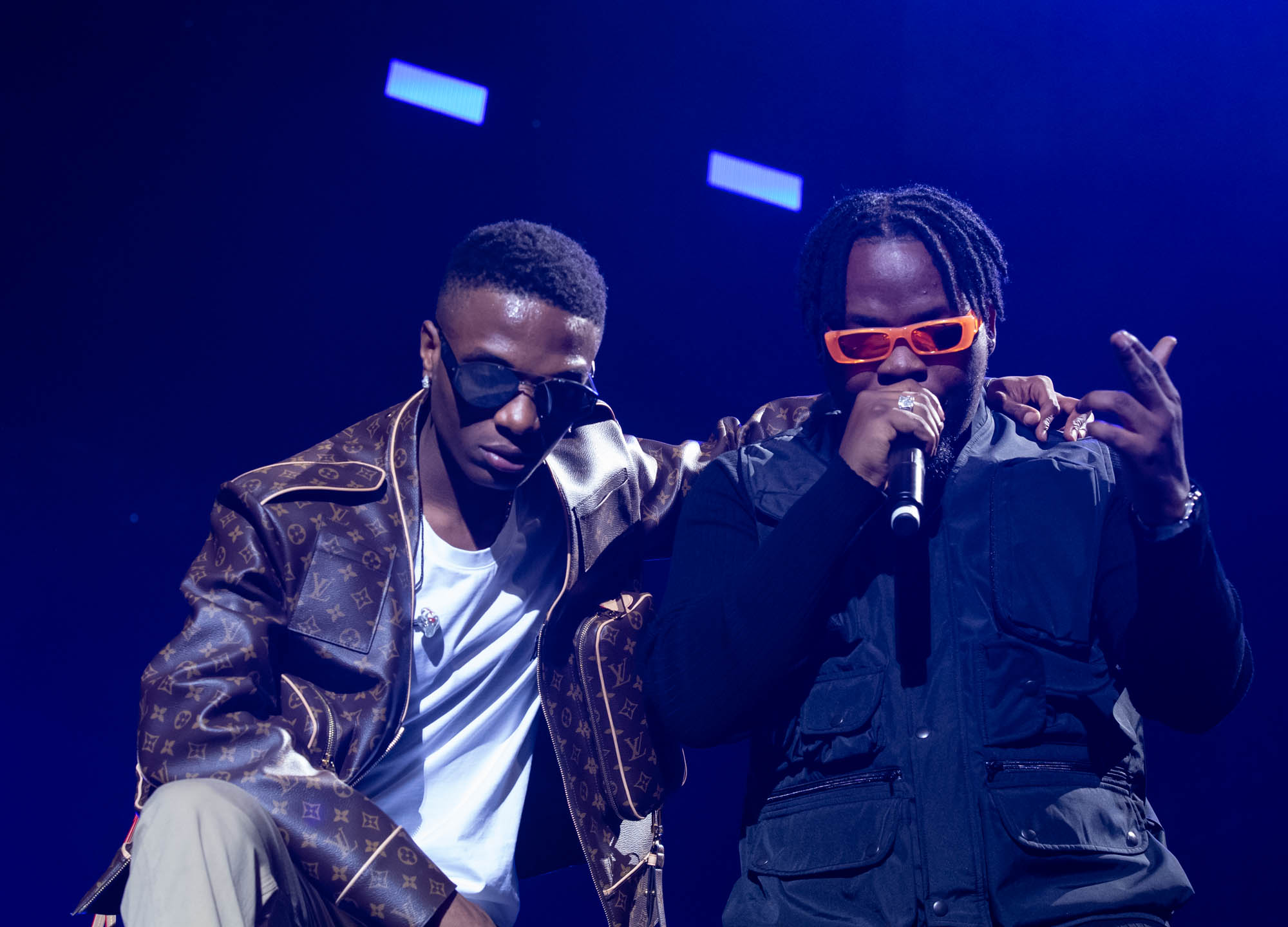 London, United Kingdom. 19th October 2019.  Wizkid & Olamide performing live at starboy fest at The 02 Arena. Photographed by Michael Tubes