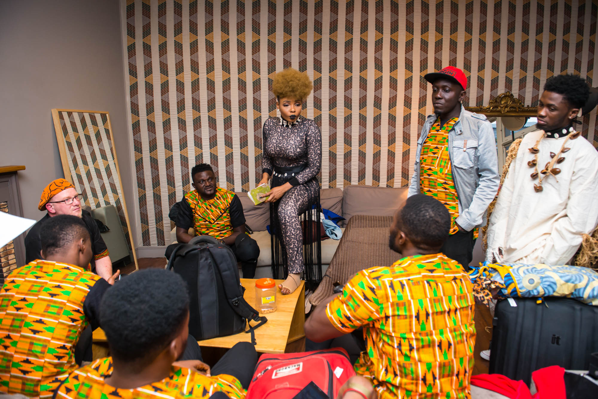 Paris, France. 7th April 2017. Yemi Alade's last minue meeting with her OversabiBand before her performance at Le Trianon, Paris. Photographed by Michael Tubes