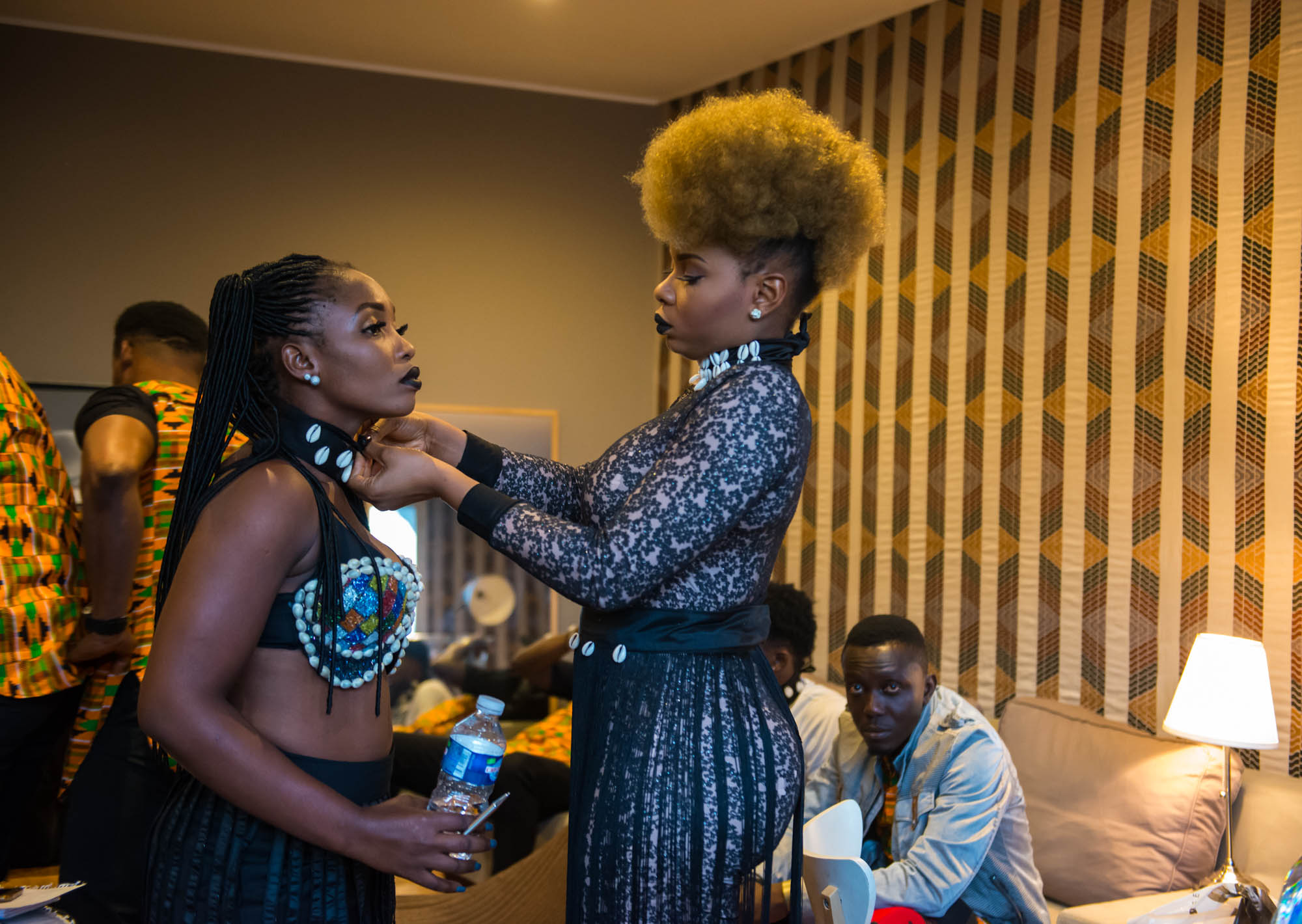 Paris, France. 7th April 2017. Yemi Alade helping one of her dancers before her performance at Le Trianon, Paris. Photographed by Michael Tubes